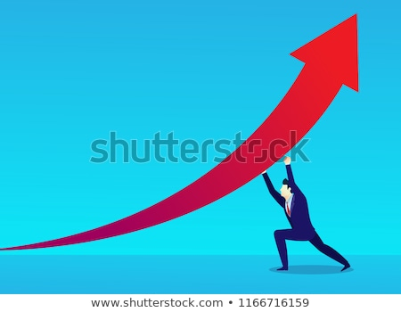 man raises a red arrow diagram stock photo © boroda
