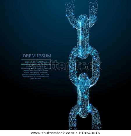 защищенный ссылку синий вектора икона дизайна Сток-фото © rizwanali3d