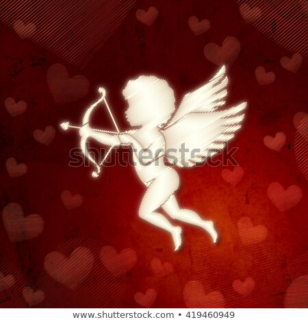Cupid Silhouette With Hearts Over Red Old Paper Stockfoto © marinini