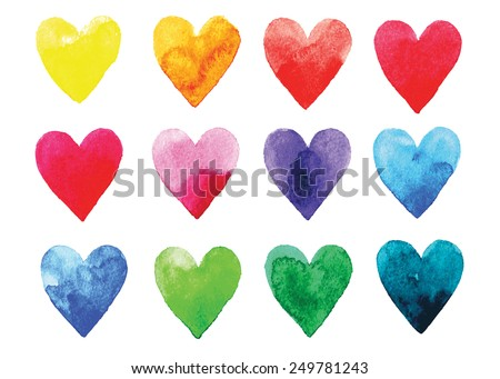 watercolor hearts card stock photo © pakete