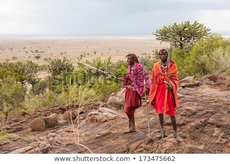 Masai man in African landscape Stock photo © adrenalina