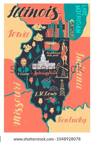Cartoon Illinois illustration souriant graphique Amérique Photo stock © cthoman