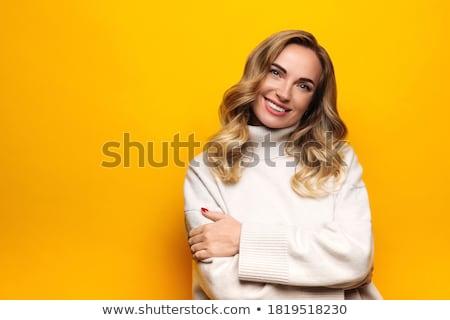 Retrato alegre mulher azul vestido preto Foto stock © acidgrey