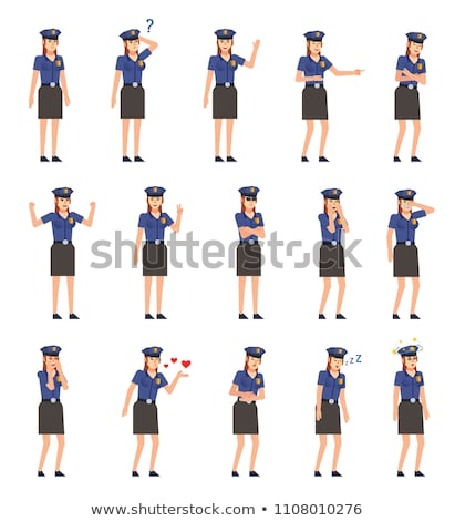 Cartoon Angry Police Officer Woman Stock photo © cthoman