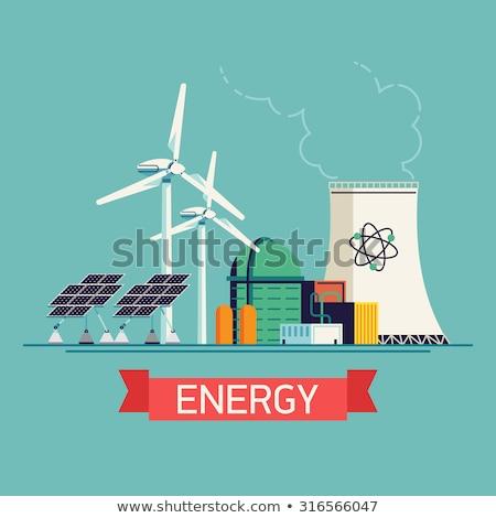 ядерной энергии Инженеры рабочих электростанция Устойчивое Сток-фото © RAStudio