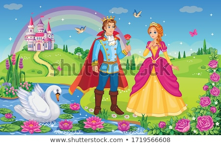 king and queen in flower garden at palace stock photo © colematt