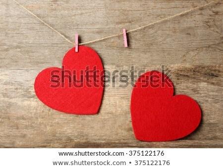rosso · amore · cuori · legno - foto d'archivio © grafvision