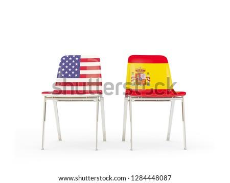 2 チェア フラグ スペイン 孤立した 白 ストックフォト © MikhailMishchenko