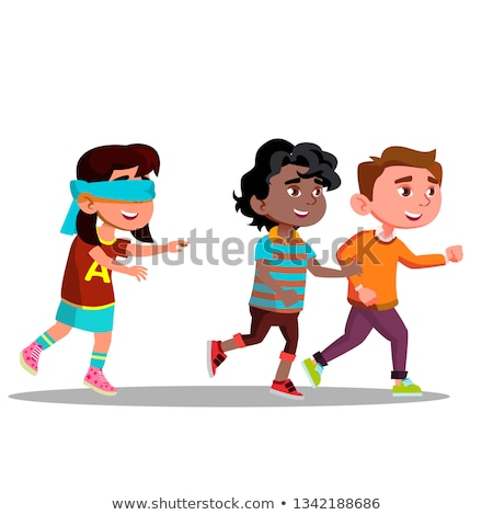 Blindfolded Girl With Arms Outstretched Looking For Friends Running Away Vector Flat Cartoon Illustr Stock photo © pikepicture