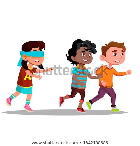Bekötött szemű lány karok néz barátok fut Stock fotó © pikepicture