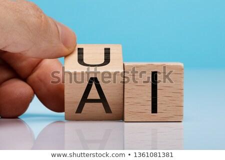 Személyek kéz tart fából készült ui szöveg Stock fotó © AndreyPopov