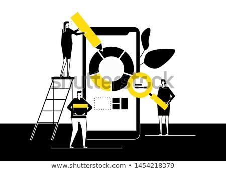 Foto stock: Análise · de · negócios · projeto · estilo · colorido · ilustração · branco