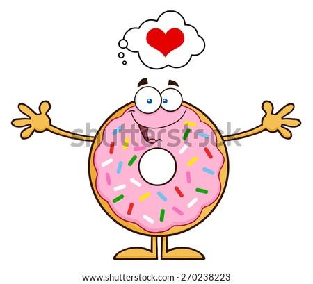 Donut Cartoon Character Thinking Of Love And Wanting Funny A Hug Stock photo © hittoon