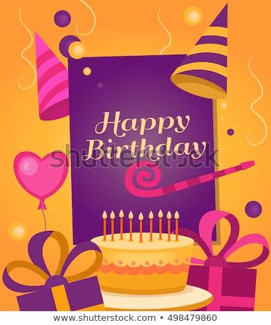 Feliz aniversário cartão boné vetor cone Foto stock © robuart