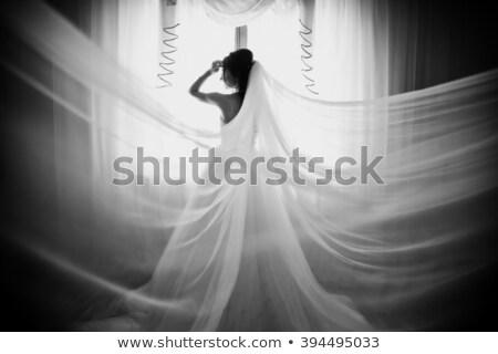 белый подвенечное платье комнату невеста кровать Сток-фото © ElenaBatkova