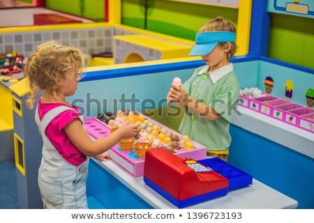 Erkek kız oynama oyuncak mutfak Stok fotoğraf © galitskaya
