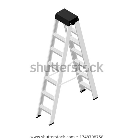 Aluminum stepladder on white Stock photo © magraphics