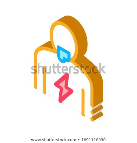 Yıldırım vücut izometrik ikon vektör imzalamak Stok fotoğraf © pikepicture