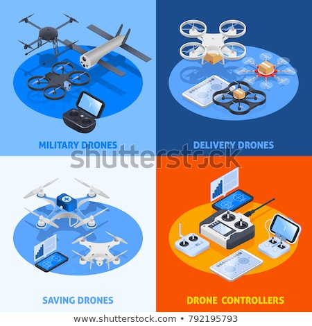 Flying Drone isometric icon vector illustration Stock photo © pikepicture