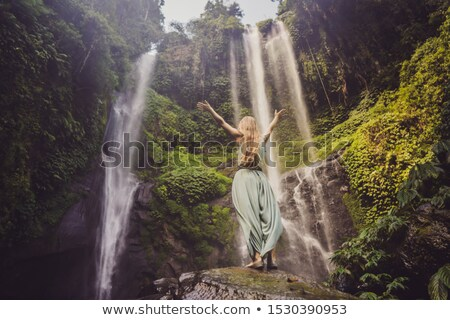 Woman at Waterfall Stock photo © THP
