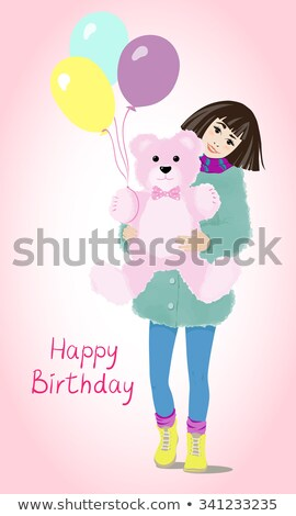 meisje · Blauw · jurk · bloem · baby · gelukkig - stockfoto © carodi