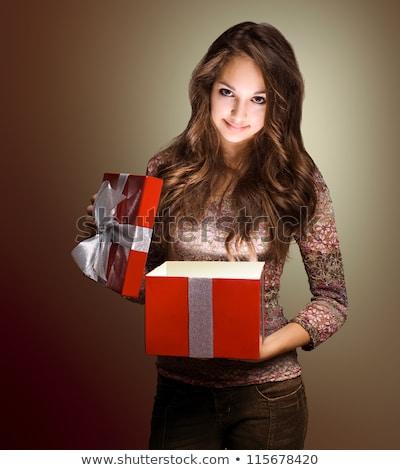 karácsony · nő · kezek · csípők · teljes · alakos · kép - stock fotó © lithian