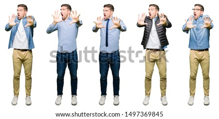 Portrait of a frightened man. Isolated Stock photo © acidgrey