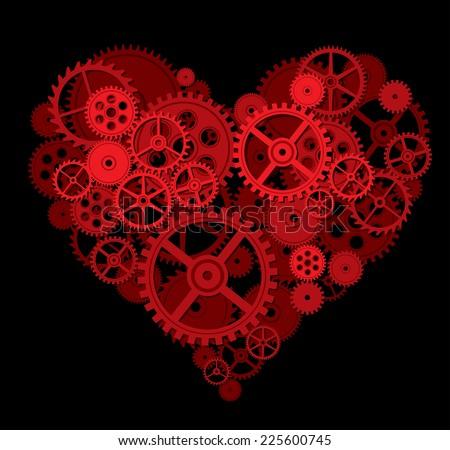 Forma de coração engrenagens amor feliz relógio tecnologia Foto stock © almir1968