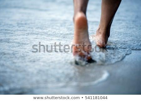 Ayak deniz kum plaj su el Stok fotoğraf © taden