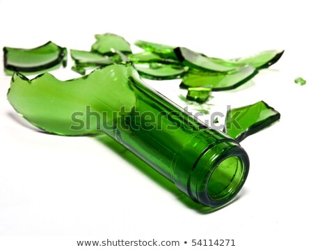 Smashed glass bottle in peices isolated Stock photo © Arsgera