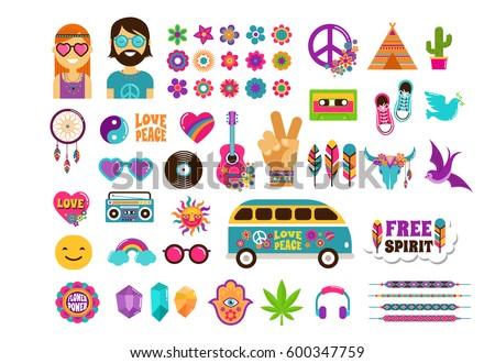 Hippie ícone ilustração masculino retro cor Foto stock © Krisdog
