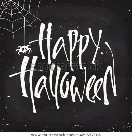 chalk vector halloween labels on blackboard background stock photo © voysla
