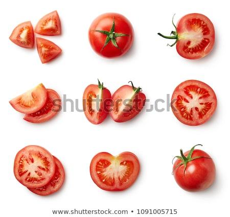 Cortar tomates dois vermelho fundo branco close-up Foto stock © tangducminh