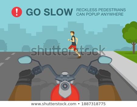 ストックフォト: 歩行者 · 安全 · ヒント · ポスター · 画像 · 車