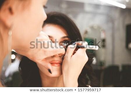 Profi fényes smink modellek szem smink Stock fotó © fanfo