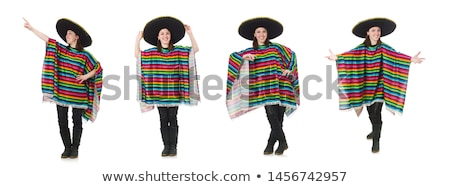 pretty mexican girl in vivid pocho isolated on white stock photo © elnur