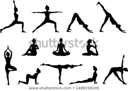 yoga · silhouet · outdoor · zonsondergang · hemel · man - stockfoto © gabor_galovtsik