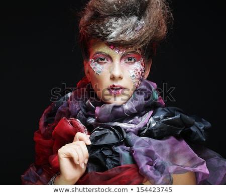 Vrouw creatieve make donkere hand gezicht Stockfoto © julenochek