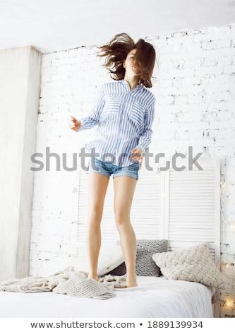 спальный · красивая · женщина · спальня · дома · лице - Сток-фото © iordani