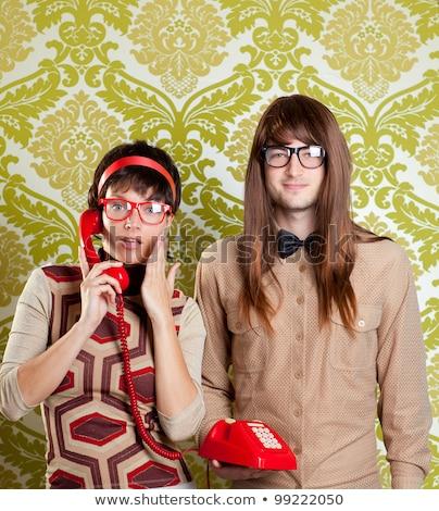 Vrouw bril praatjes retro telefoon pop art Stockfoto © balasoiu