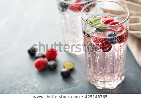 glass of sparkling water soda drink with ice stock photo © denismart