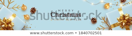 Background design with present boxes and pinecones Stock photo © bluering