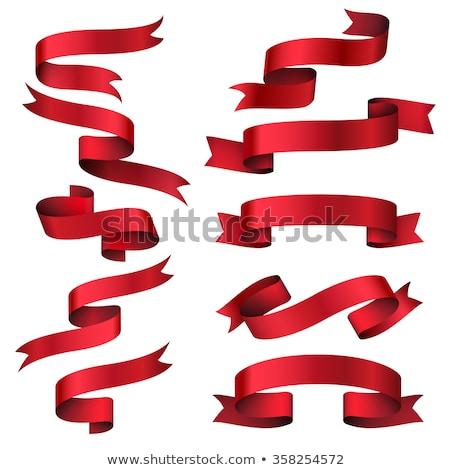 Red shiny silk ribbon isolated icon stock photo © studioworkstock