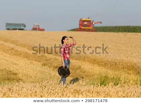 Woman working on trailer in field Stock photo © IS2