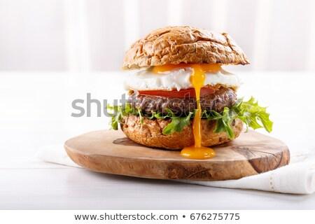 Burger иллюстрация белый продовольствие хлеб Сток-фото © olegtoka