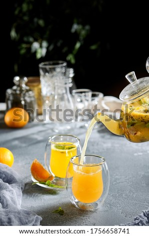 Refreshing Summer Lemonade Drink Stylish Glassware Stock photo © robuart