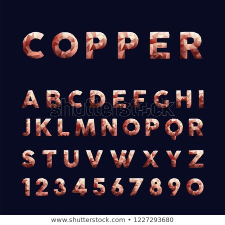 Copper low poly alphabet typography set Stock photo © cienpies