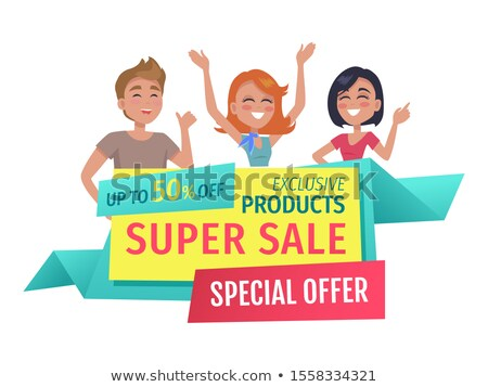 Shopaholic Friends with Promotion in Hands Banner Stock photo © robuart