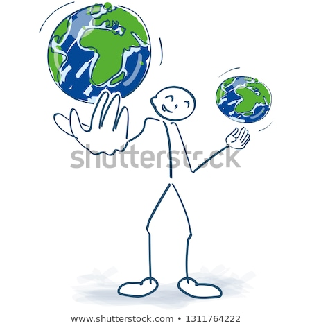 Stick figure juggles with two world globes Stock photo © Ustofre9