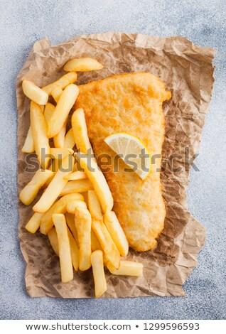 традиционный британский рыбы чипов грубая оберточная бумага Сток-фото © DenisMArt